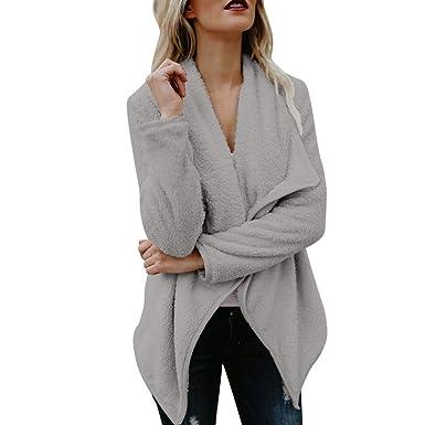 Women Faux Fur Fleece Coat Fluffy Open Front Coats Cardigan Drape Long  Sleeve Casual Winter Warm Outerwear Jacket  Amazon.co.uk  Clothing 9ec78665b