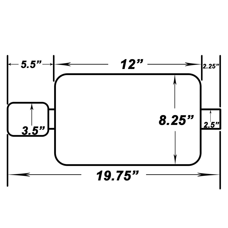 BLACK TC Sportline Burnout MU-UN001SB Spun-locked Universal Oval Muffler Exhaust Double Wall 3.5 Slant Tip 2.5 Inlet