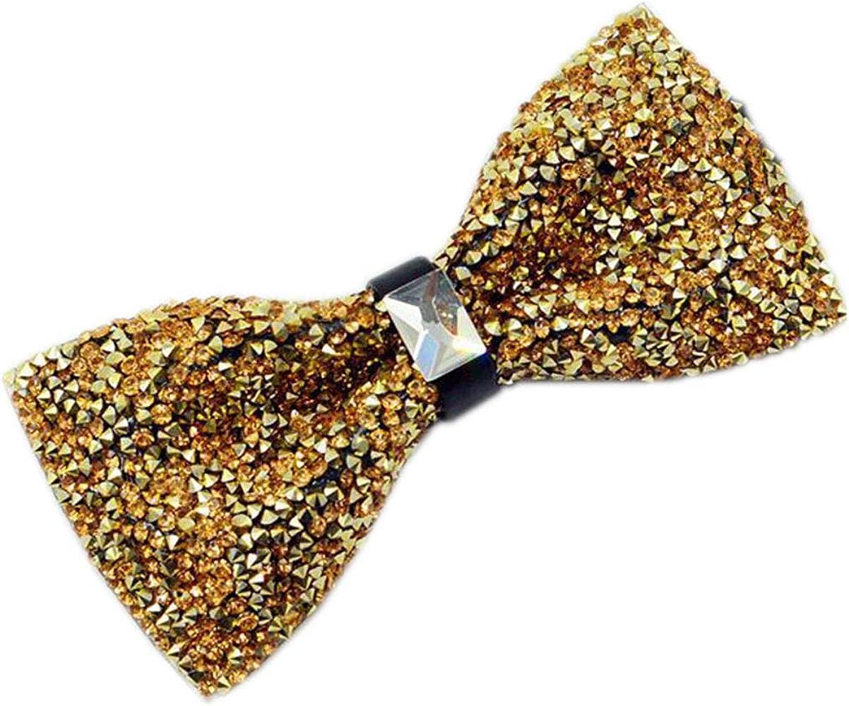 Hello Tie Mens Pre-tied Rhinestones Shining Bowtie Luxury Bow Ties-Multicolor