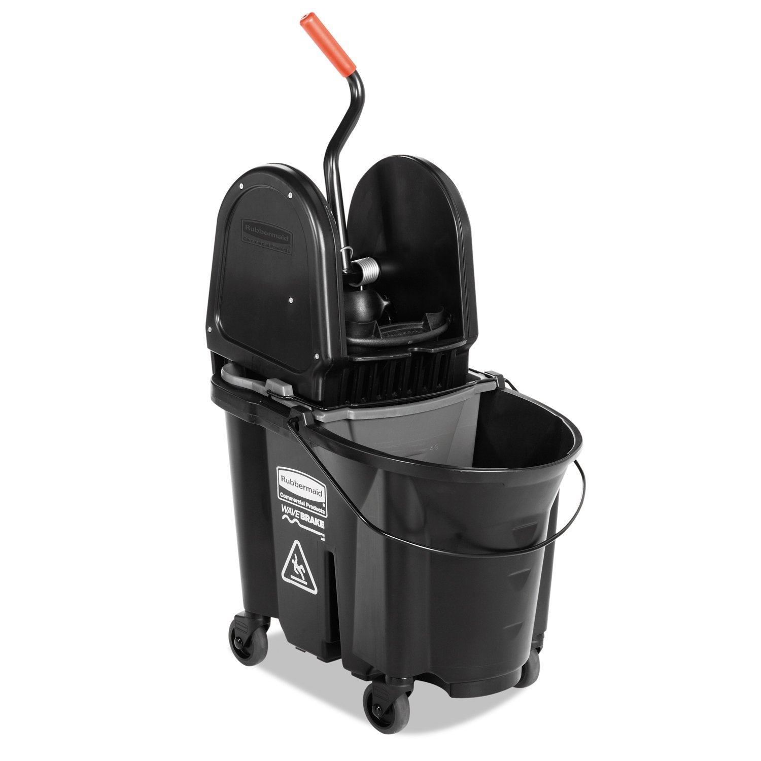 Image of Home and Kitchen Rubbermaid Commercial WaveBrake 2.0 35 QT Down-Press Mop Bucket and Wringer, Black (1863898)