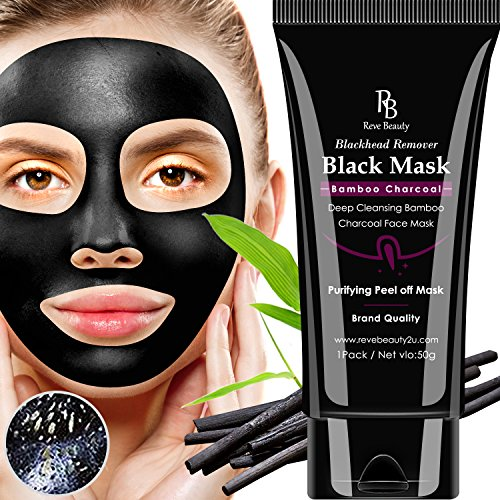 Reve Beauty Blackhead Remover Black Mask, Purifying Peel off Mask, Deep Cleansing Bamboo Charcoal Face Mask (50g)