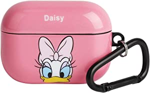 HaRuion Case Cover Compatible with Airpods Pro, Cute Cartoon Personalized Airpod Pro Case with Keychain, Full Protective Durable Shockproof Headphone Case for AirPods Pro (DaisyDuck)