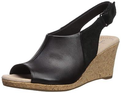 93d73d2e53b CLARKS Women s Lafley Jess Wedge Sandal Black Leather Suede Combi 050 ...