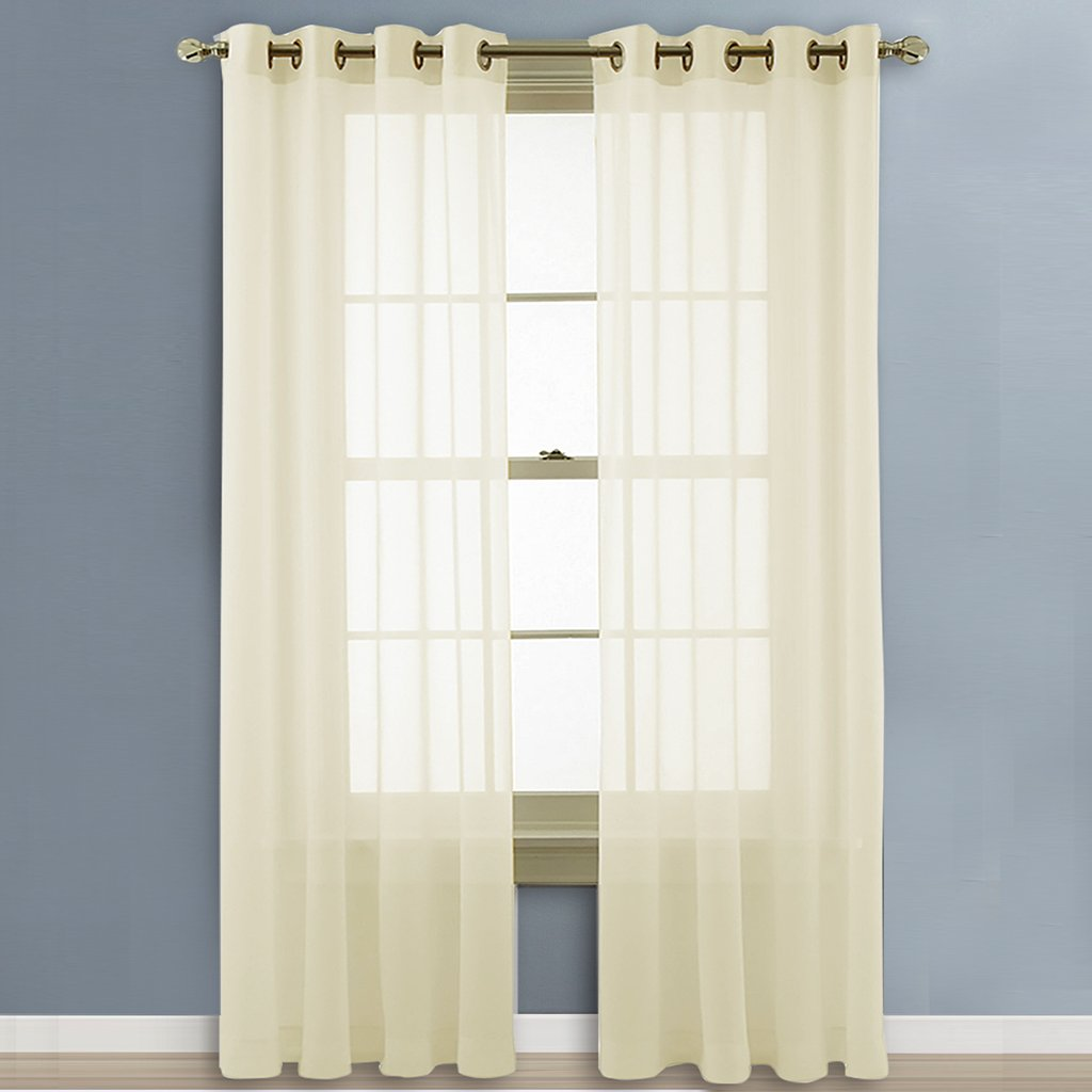Beige NICETOWN Sheer Curtain Panels 96 - Window Treatments Voile Panels with Eyelet Top for Living Room