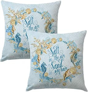 7COLORROOM Sea Theme &Coastal Throw Pillow Covers with Sea Horse Conch Shell Starfish Cushion Cover Beach Home Decorative Cotton Linen Pillowcases 18 x 18 inches,2Pack (Shell Wreath)