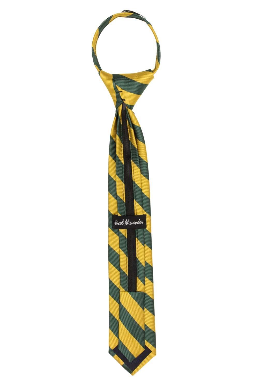 Silver Black Jacob Alexander Stripe Woven Boys 14 College Striped Zipper Tie
