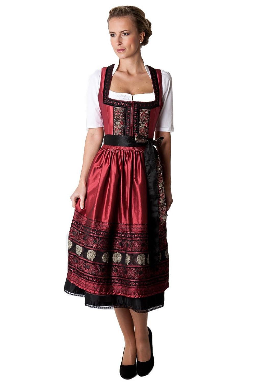Ludwig und Therese Damen Trachten Dirndl Luna schwarz rot D010046 (Schwarz, Rot)