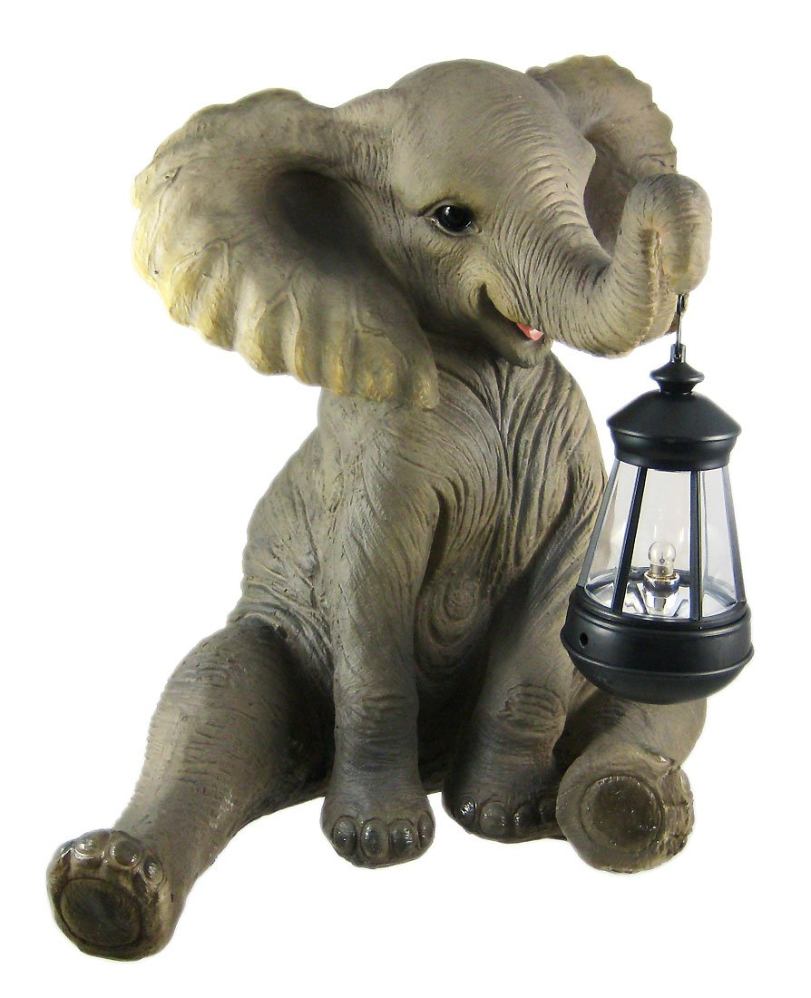 Cute African Elephant Porch / Garden Statue W/ Lantern by Things2Die4 by Things2Die4