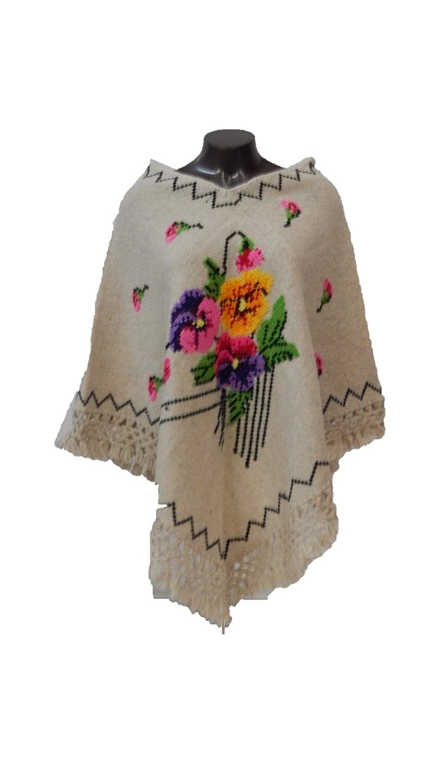 Beige Poncho Flower Embroidered