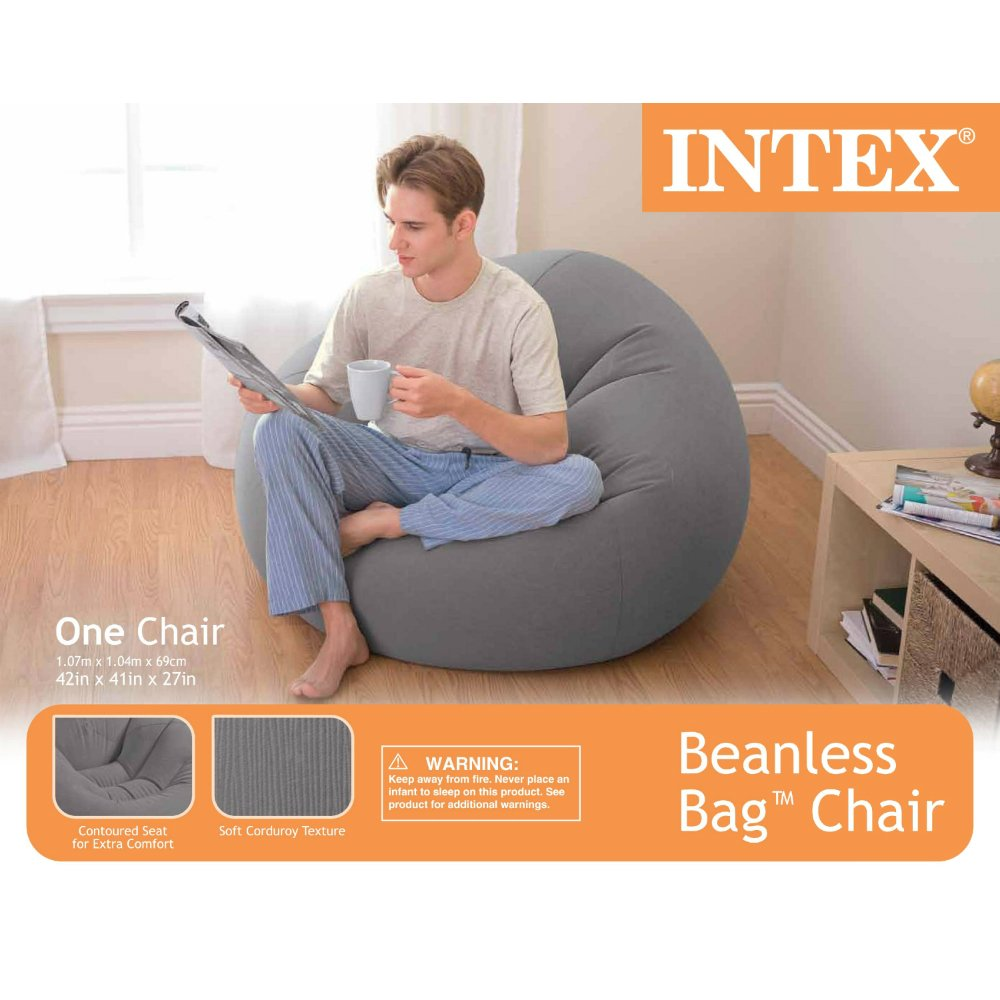Amazon Intex Beanless Bag Inflatable Chair 42 X 41 27 Beige Sports Outdoors