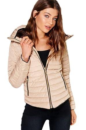 585913b0319 H F Girls Women Ladies Zara Inspired Quilted Bubble Puffer Padded Plain  Full Long Sleeve Zip Up