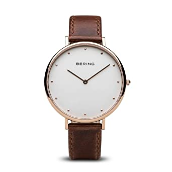 BERING Reloj Analogico para Mujer de Cuarzo con Correa en Cuero 14839-564: Amazon.es: Relojes
