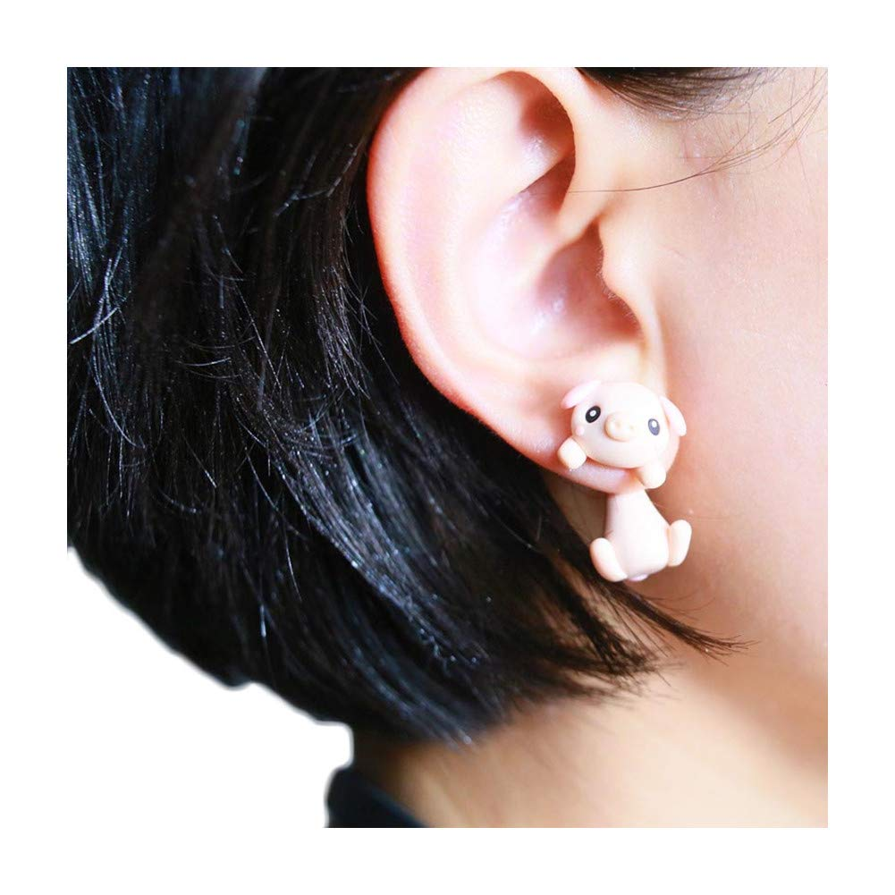 ZaH Pair of 925 Silver Earring Cartoon Animal Jewerly Gift Earring for Women Men Kids, Pink Pig