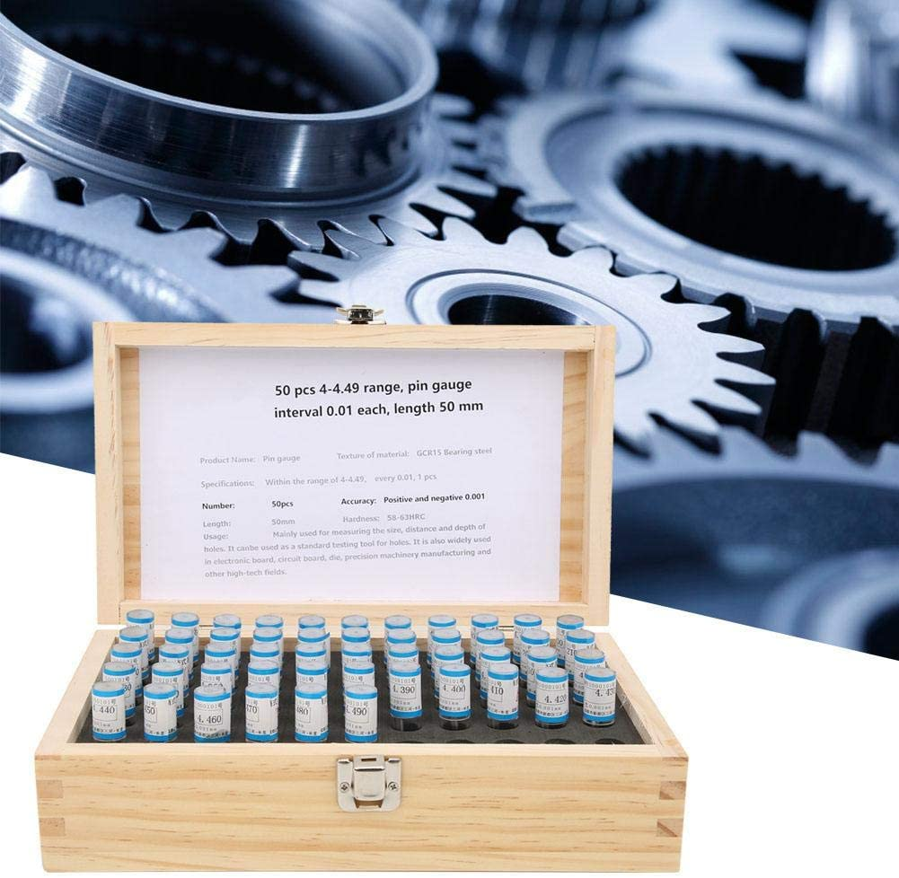 50pcs Bearing Steel Plug Gauge with 0.001mm Accuracy 4-4.49mm Pin Gauge Set included Wooden Case