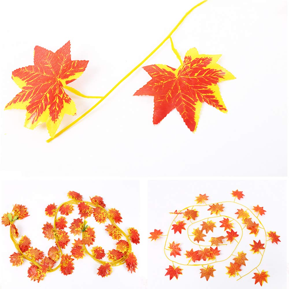 Amerisky Maple Leaves 90 Feet 12 Pack Artificial Autumn Garland Silk Fall Maple Leaves Garland Hanging Plant for Wedding Party Home Garden Thanksgiving Festival Decorations