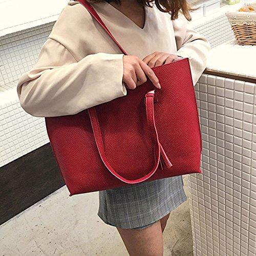 à sac frange sacs grande sacs de main capacité Sacs main à bandoulière à Wildlead Red PU dames qwxZOC