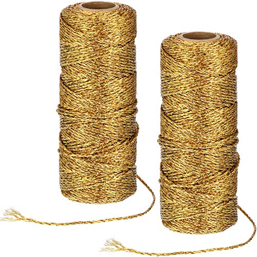 Pangda 220 Yard Metallic Baker Twine Craft Gold Twine Present Wrapping Cord for Christmas DIY Crafting -