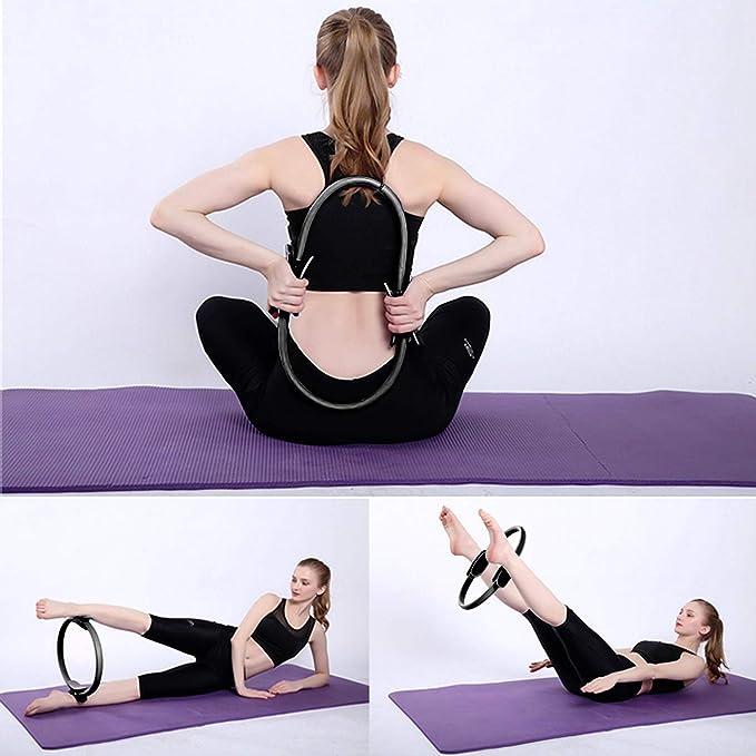 Arteesol Anillo de Pilates Anillo de Yoga Pilates de Doble asa 15 Pulgadas / 38cm círculo de Ejercicio Magic de Agarre Doble para Quemaduras de Grasa ...