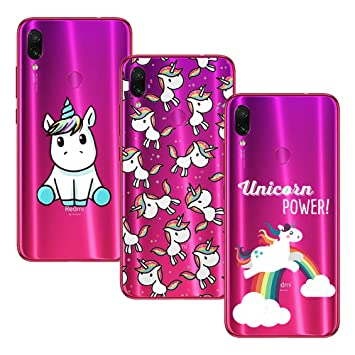 Young Ming (3 Pack) Funda Para Xiaomi Redmi Note 7/ Redmi Note 7 Pro, Transparente Ultrafina Carcasa Case Cover, Unicornio