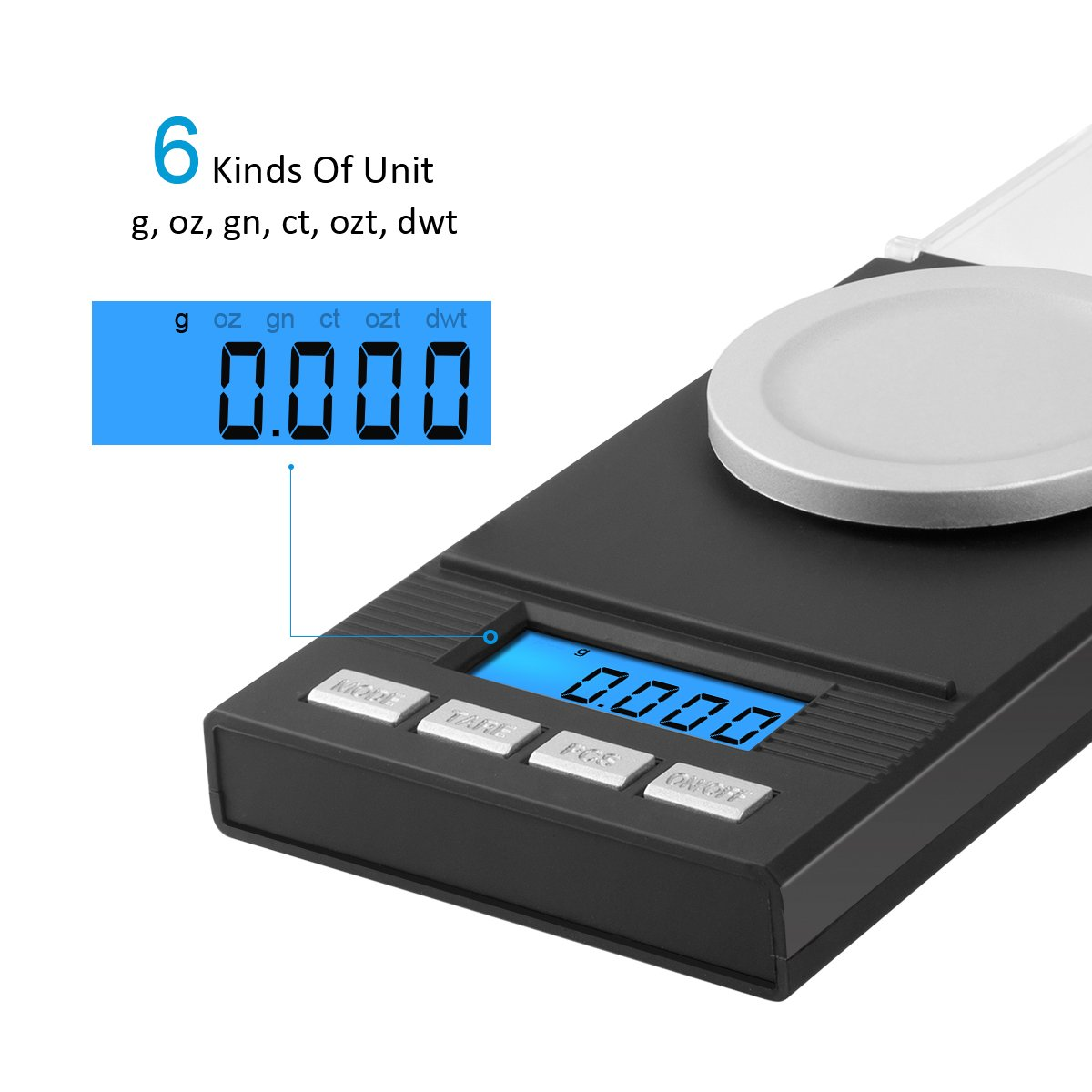 AMIR Digital Milligram Scale, Mini Precise Jewelry Scale, 50g/ 0.001g Pro Lab Scale with Calibration Weights Tweezers and Weighing Pans, 6 Units, Tare & PCS Function, Auto Off, for Gems, Diamond, etc by AMIR (Image #3)