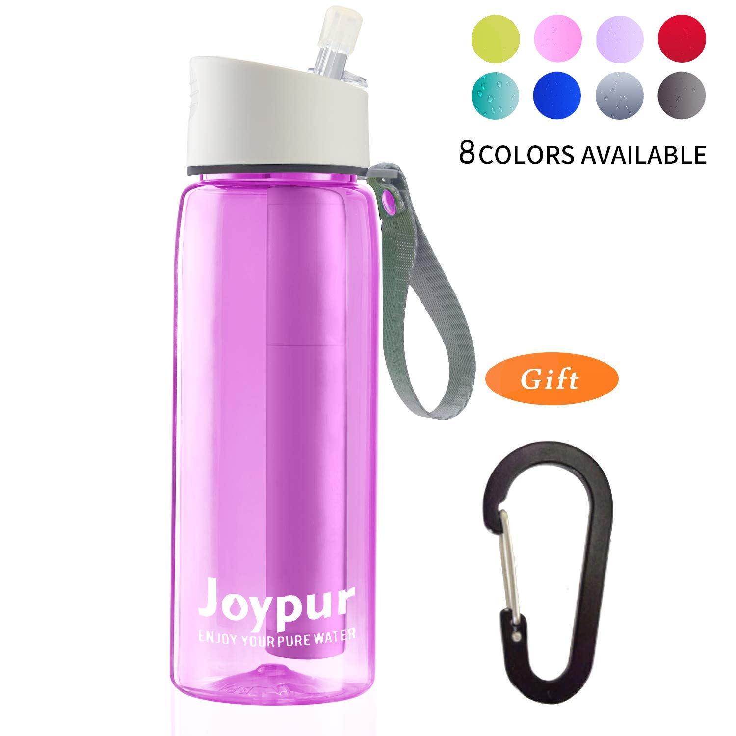 joypur Outdoor Filtered Water Bottle - Camping Water Filter with 3-Stage Integrated Water Purifier for Travel Hiking Backpacking Pink by joypur