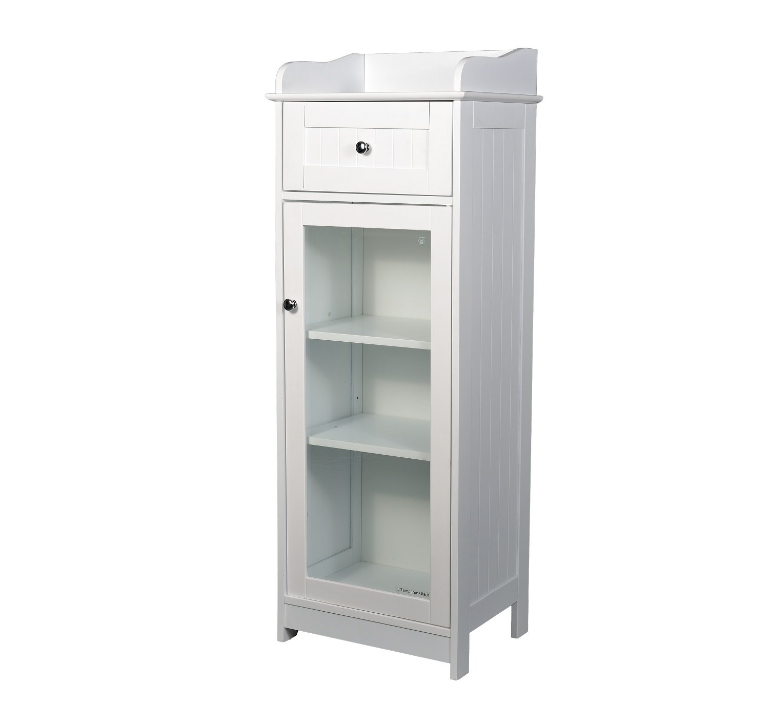 Home Source - Classic Clear MDF Bathroom 1 Door 1 Drawer Low Storage Cabinet in White