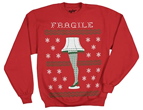 ripple junction a christmas story fragile leg lamp faux sweater adult sweatshirt small red