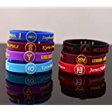 Basketball Bracelet adjustable Wristband Strap STEPHEN CURRY LEBRON JAMES KOBE BRYANT KEVIN DURANT (Set of 7 (one of each))