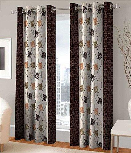 India Furnish Polyester Eyelet 8 Piece Door Curtain Set