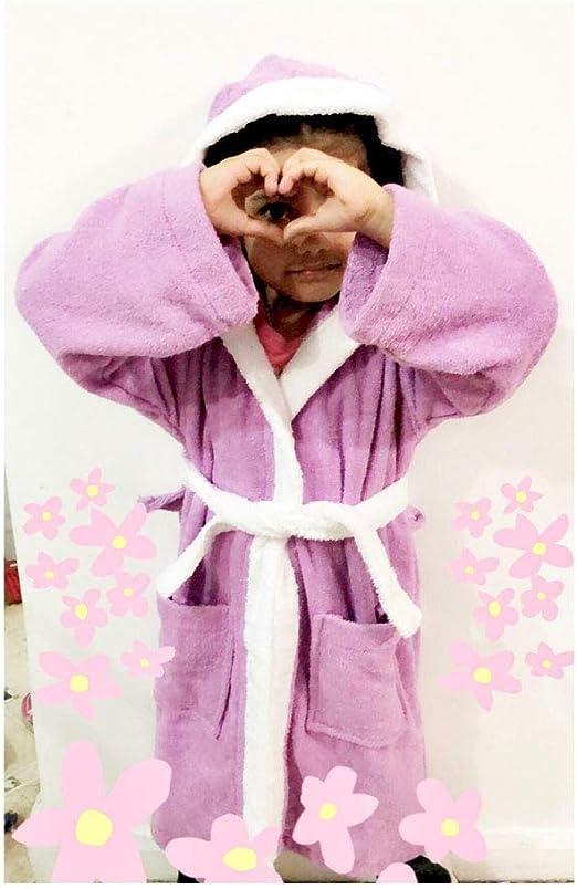 Lyzafashion. Albornoz con capucha para niños y niñas, 100 % algodón, de rizo con cinturón, para baño de 1 a 12 años, Morado, 2-3 años: Amazon.es: Hogar