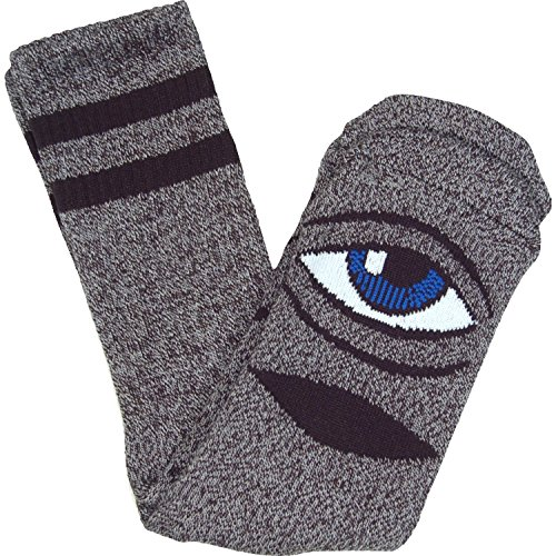 Toy Machine Sect Eye Heather Crew Socks-Grey - Single Pair