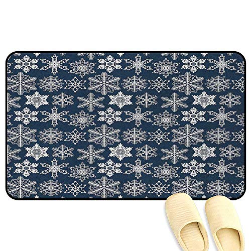 Snowflake Welcome Door Mat Crochet Style White Motifs of Winter on Dark Background Traditional Designs Navy Blue White Kitchen Decor mats W19 x L31 INCH