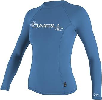 Tahitian Blue ONeill Wetsuits UV Sun Protection Womens Basic Skins Long Sleeve Crew Sun Shirt Rash Guard Small