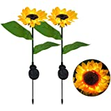 JHBOX Solar Sunflower Lights Garden Decor Outdoor 2 Pack, Solar Flowers Lights Solar Lights Outdoor Garden, Garden Stake Lawn