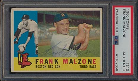 310 Frank Malzone 1960 Topps Baseball Cards Graded Auto