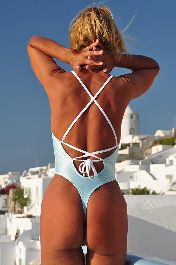f755aeedee Crisscross Thong One Piece - Blue -: Amazon.co.uk: Clothing