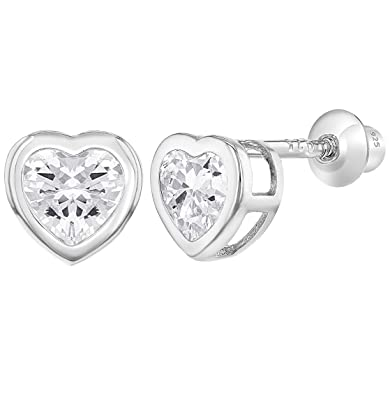 9785cdfa4 925 Sterling Silver CZ Small Heart Screw Back Earrings Baby Girl: Amazon.co. uk: Jewellery
