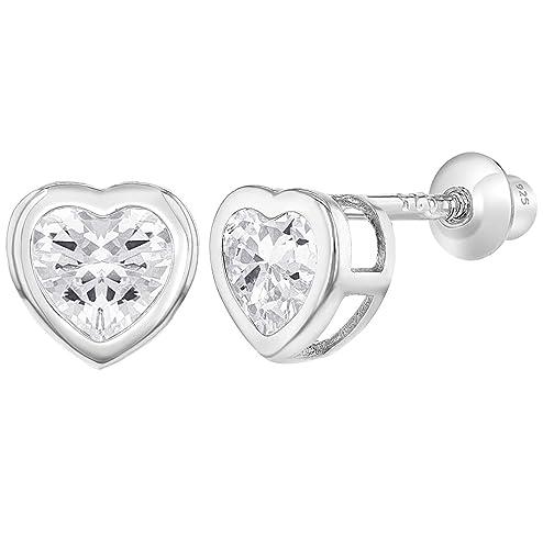 b5a9307f5 Amazon.com: 925 Sterling Silver CZ Small Heart Screw Back Earrings Baby  Girl: Jewelry