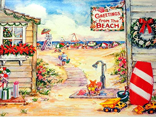 18 Christmas Cards and Envelopes, Greetings From the Beach, Christmas Beach Scene
