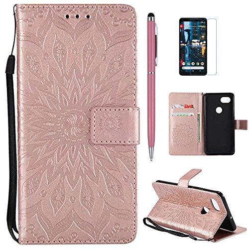 Google Pixel 2 XL Case, Pixel 2 XL Wallet Case, Mellonlu [Kickstand Feature] [Wrist Strap] Premium PU Leather Magnetic Card Slot Wallet Flip Fold Case Cover for Google Pixel 2 XL (Z-Rose gold) (Leather Pink Premium Case)