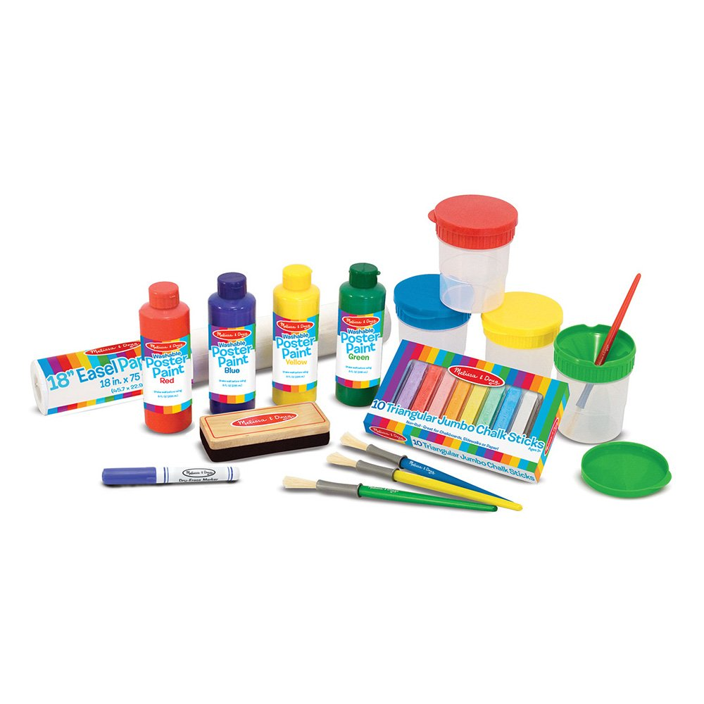 Melissa & Doug Easel Accessory Set - Paint, Cups, Brushes, Chalk, Paper, Dry-Erase Marker 4145