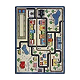 Joy Carpets Kid Essentials Active Play & Juvenile Tiny Town Rug, Pewter, 7'8'' x 10'9''