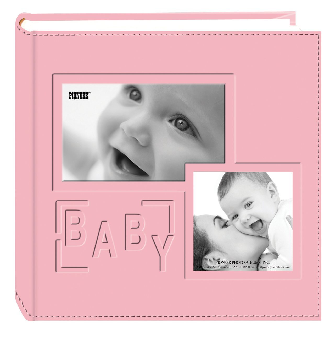 Pioneer Photo Albums 200-Pocket Embossed ''Baby'' Leatherette Frame Cover Album for 4 by 6-Inch Prints, Pink by Pioneer Photo Albums