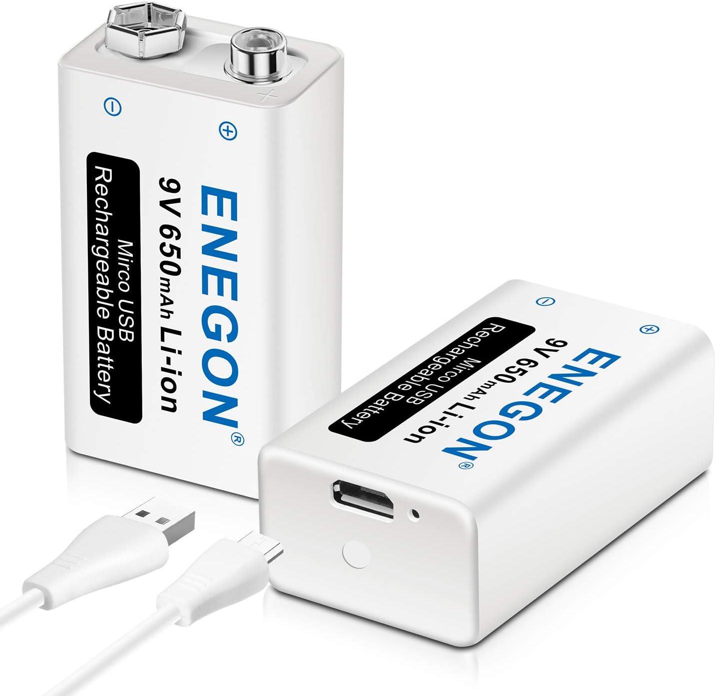Pila recargables 9V de Iones de Litio y 650mAh. Cargador por USB. Vida útil +500 cliclos y baja autodescarga, Marca Enegon