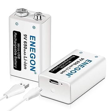 ENEGON 9V USB Directa Recargable Batería Lito-Ion con Cable Micro USB 2 en 1 para Micrófonos, Alarma de Humos, Juguetes electrónicos, Walkie Talkie y ...