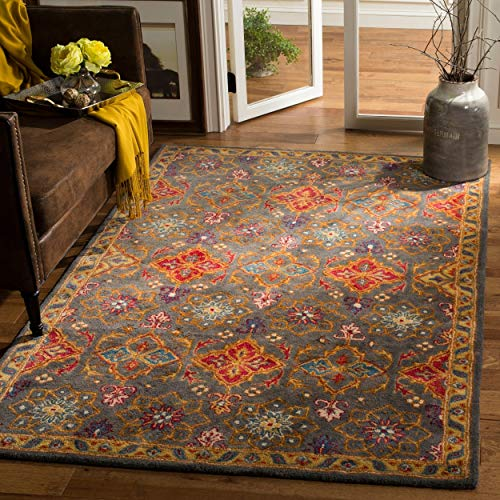 Safavieh HG415H-8 Heritage Collection Charcoal and Multi Premium Wool Area Rug, 8' x 10', ()