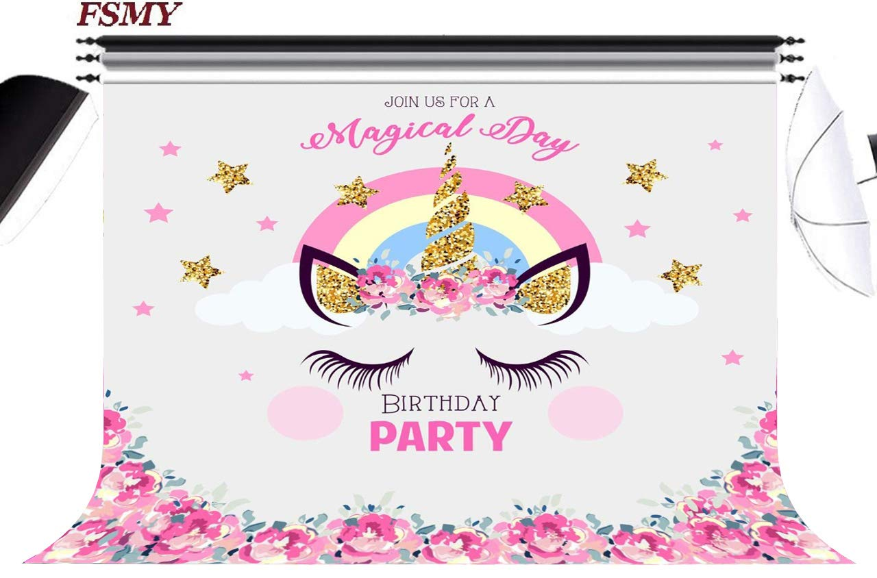 FSMY 7x5ft Kids Unicorn Themed Photography Backdrop,Pink Girls Birthday Party Supplies Photo Background for Portrait Photo Studio Props 7x5FT, Color 6