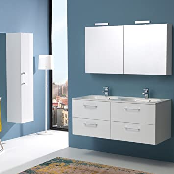 mobile bagno 120 cm con quattro cassetti doppio lavabo boston in bianco lucido spcontenitore