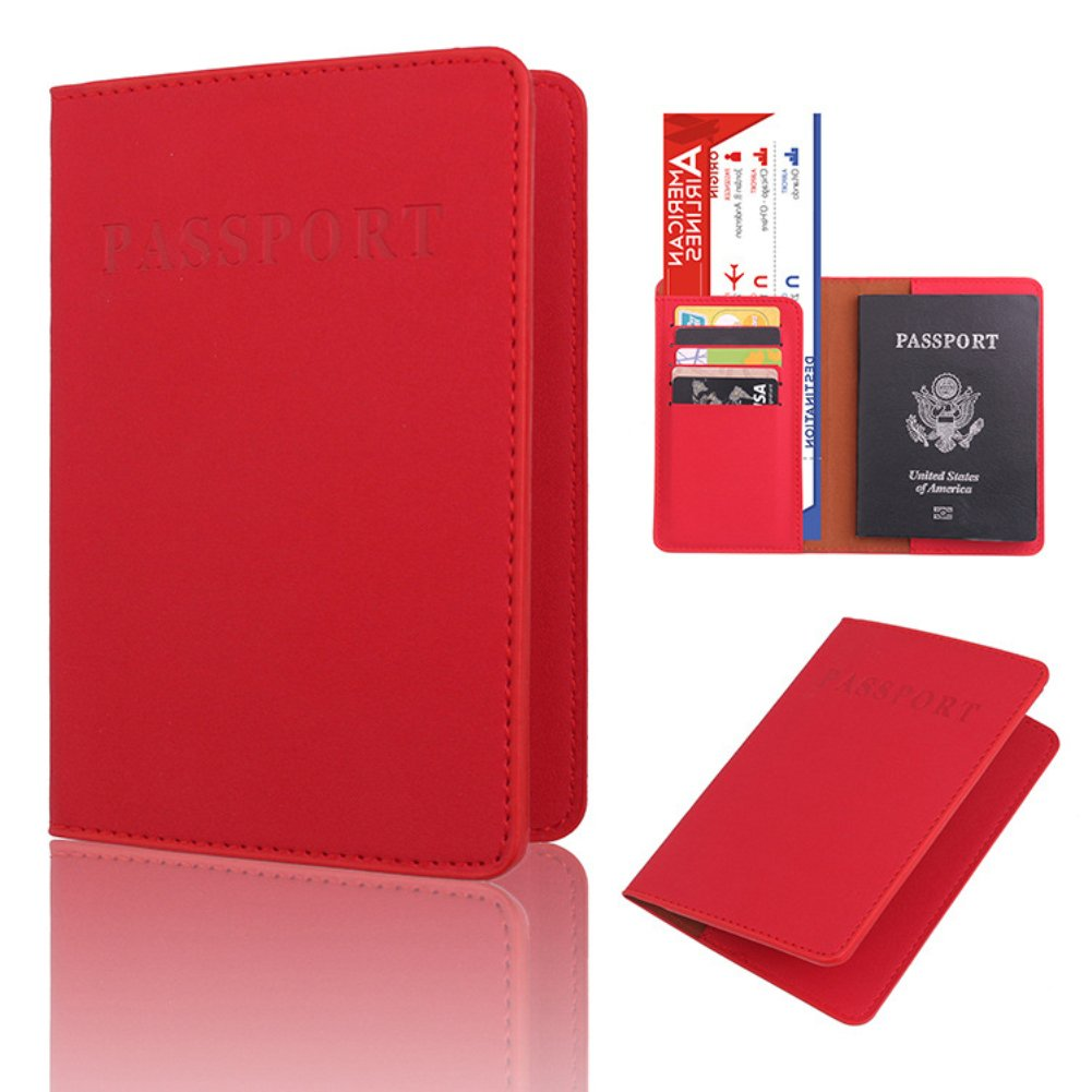 Honghong Solid Color Faux Leather Multi-Functional Travel Passport Holder Cover ID Card Ticket Pouch Bag for Men Women