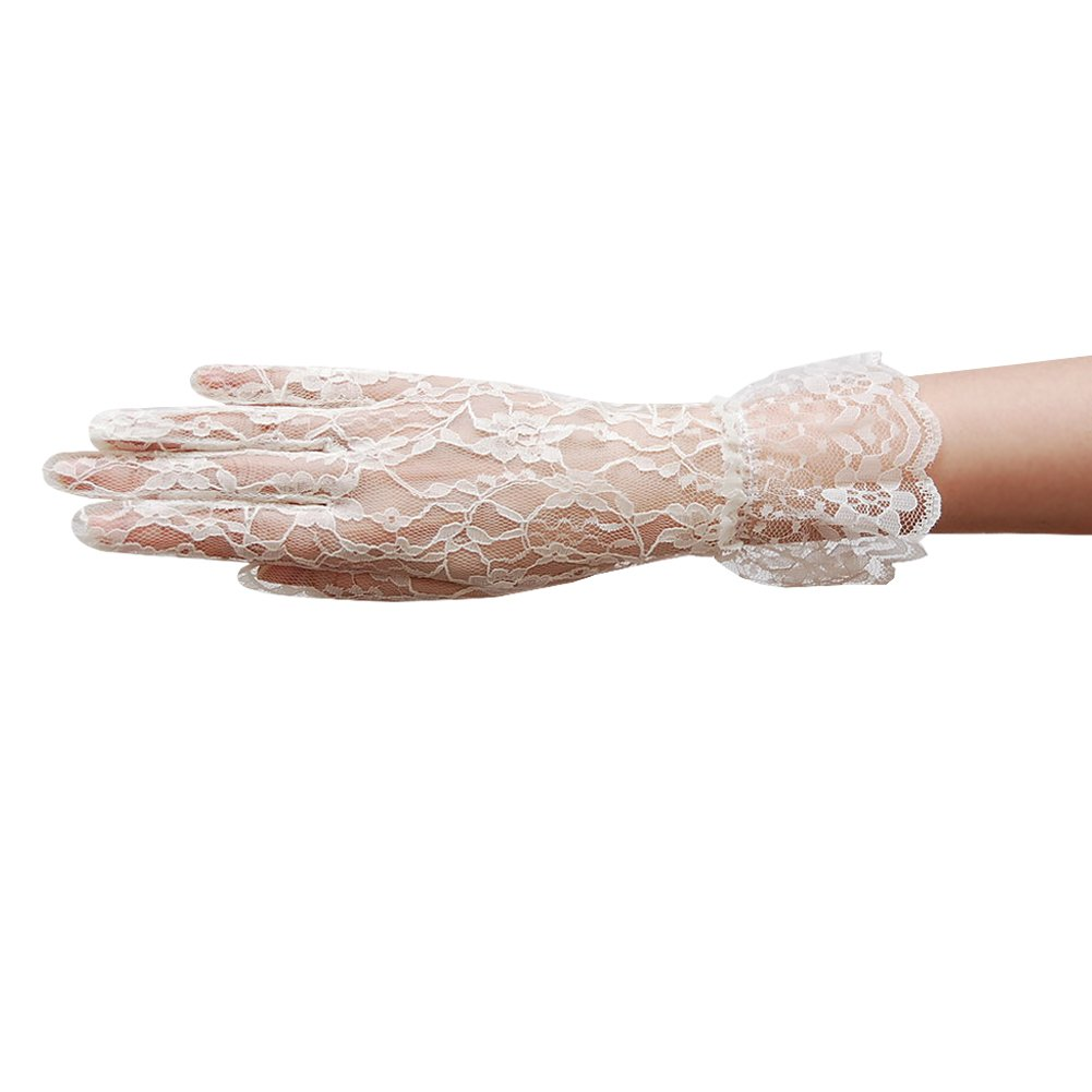 ZaZa Bridal Flower Pattern Women's Lace Gloves with Ruffle Wrist Length-Ivory